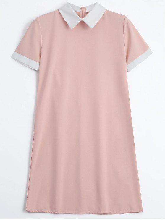 فستان سحاب الظهر بأسلوبين مصغر - زهري XL