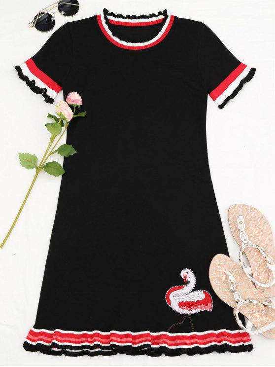 womens Knitted Ruffles Embroidered Mini Dress - BLACK ONE SIZE