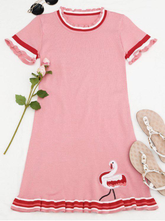 Mini vestido bordado de volantes de punto - Rosa Única Talla