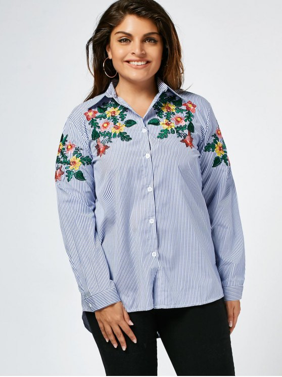 lady Stripes Floral Embroidered Plus Size Shirt - STRIPE 2XL