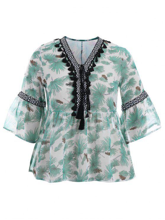 Blouse blusa imprimée de taille supérieure - Vert 2XL