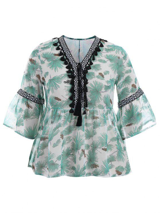 hot Plus Size Tassel Printed Smock Blouse - GREEN 4XL