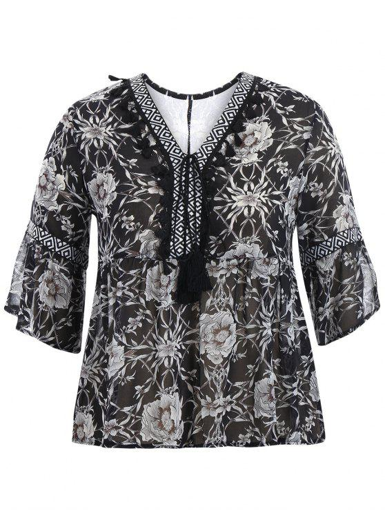outfit Plus Size Tassel Printed Smock Blouse - BLACK 4XL