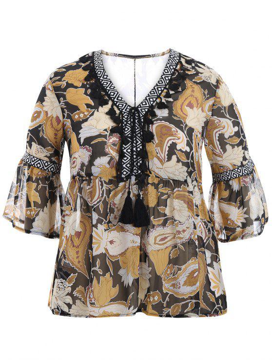 Blouse blusa imprimée de taille supérieure - Jaune 2XL