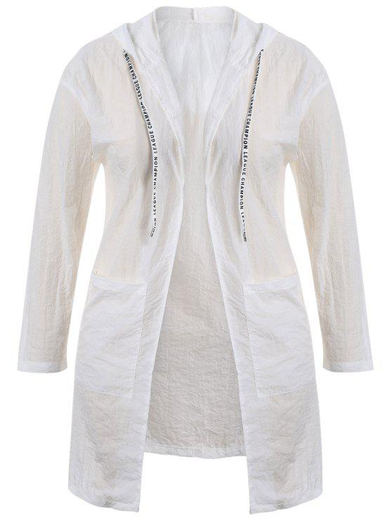affordable Plus Size Hooded Drawstring Longline Coat - WHITE XL