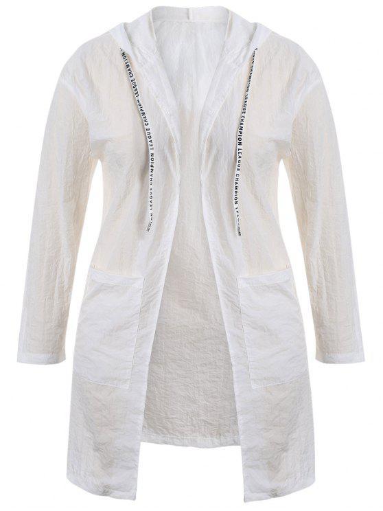 affordable Plus Size Hooded Drawstring Longline Coat - WHITE XL