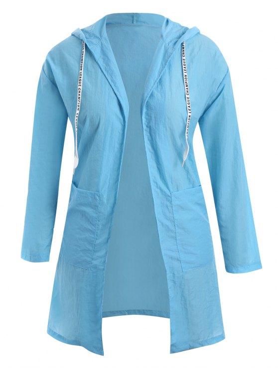 Plus Size con cappuccio con cappuccio Longline Coat - Windsor Blu 3XL