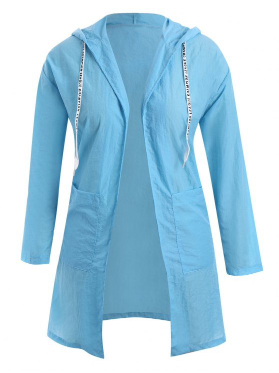 lady Plus Size Hooded Drawstring Longline Coat - WINDSOR BLUE 2XL