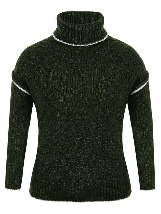 online Turtle Neck Plus Size Pullover Sweater - GREEN ONE SIZE(FIT SIZE XS TO M)