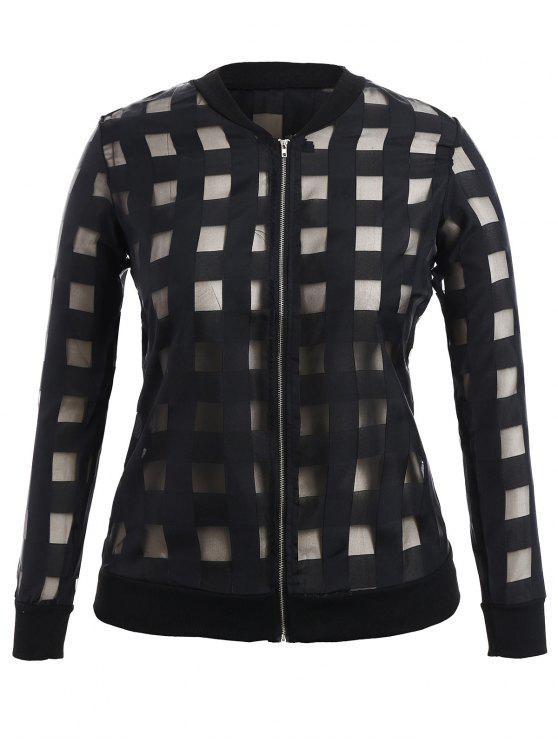outfit Organza Plus Size Sun Block Jacket - BLACK 2XL
