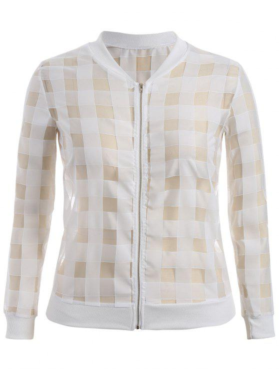 shops Organza Plus Size Sun Block Jacket - WHITE 4XL