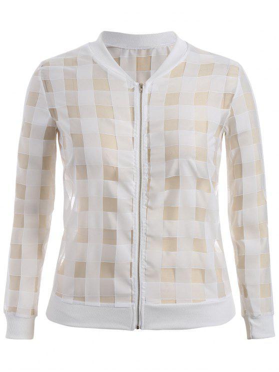 latest Organza Plus Size Sun Block Jacket - WHITE 3XL