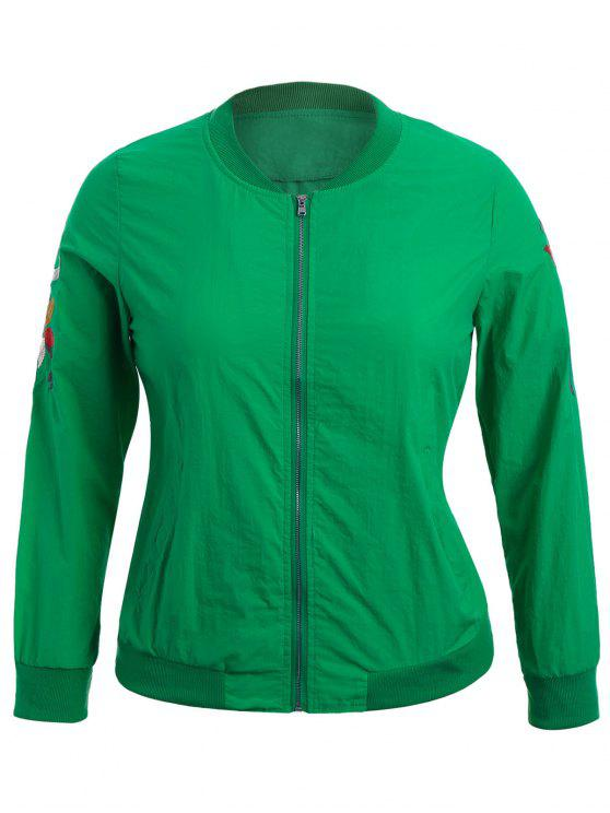 chic Zippered Floral Embroidered Plus Size Jacket - GREEN 2XL