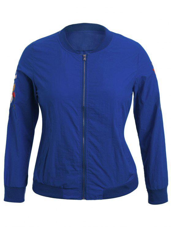 Übergröße Jacke mit Reißverschluss und Blumenstickereien - Blau 4XL