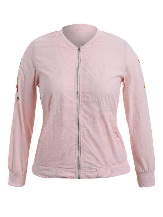 lady Zippered Floral Embroidered Plus Size Jacket - PINK XL