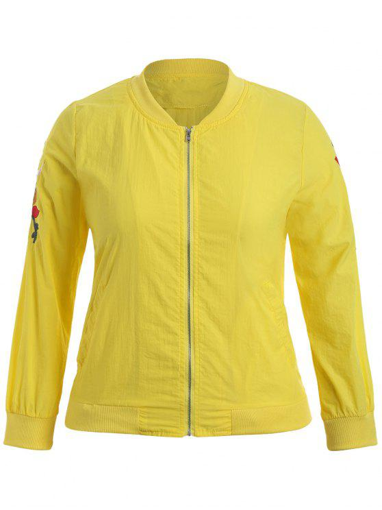online Zippered Floral Embroidered Plus Size Jacket - YELLOW 3XL