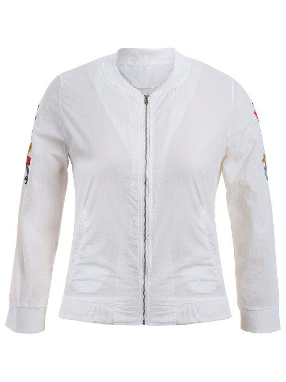 shop Zippered Floral Embroidered Plus Size Jacket - WHITE 3XL