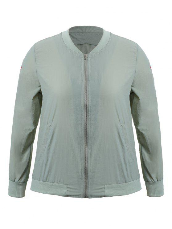 affordable Zippered Floral Embroidered Plus Size Jacket - LIGHT GREY 3XL