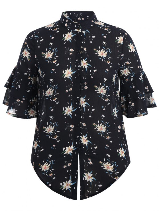 lady Flare Sleeve Floral Plus Size Blouse - PURPLISH BLUE XL