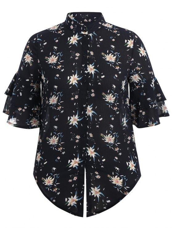 lady Flare Sleeve Floral Plus Size Blouse - PURPLISH BLUE XL