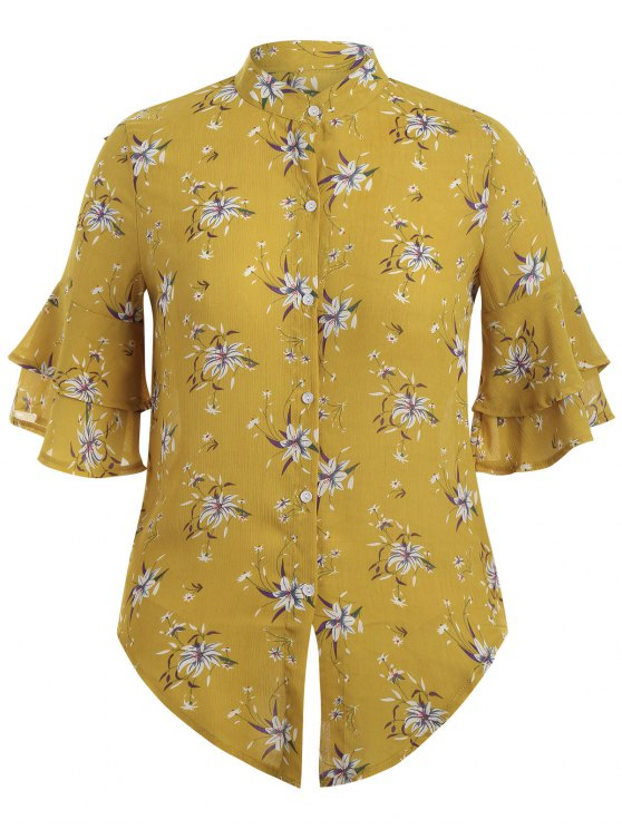 trendy Flare Sleeve Floral Plus Size Blouse - YELLOW XL