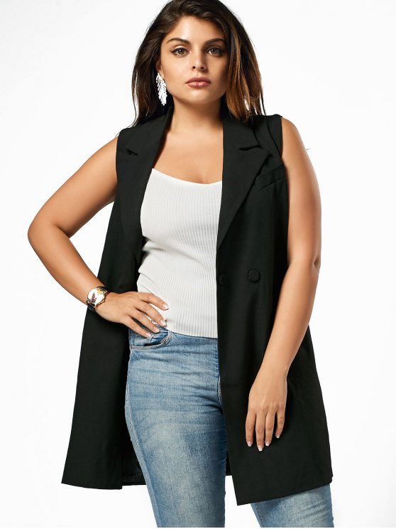 fashion Lapel Plus Size Longline Waistcoat - BLACK 2XL