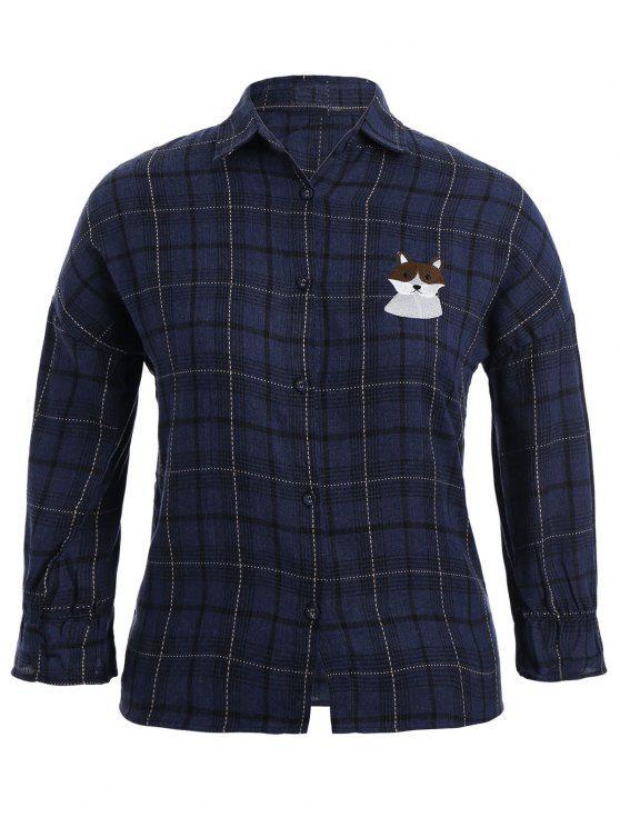 unique Checked Doggy Patched Plus Size Shirt - BLUE 2XL