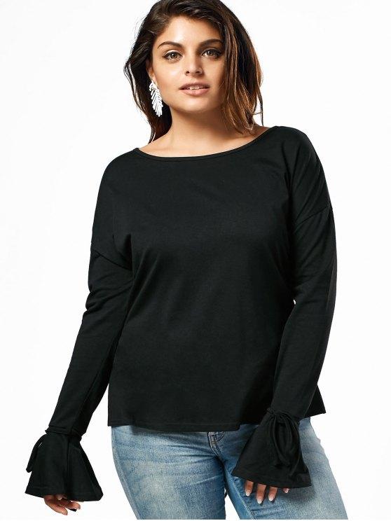 best Ruffles Lace Up Plus Size Top - BLACK 5XL
