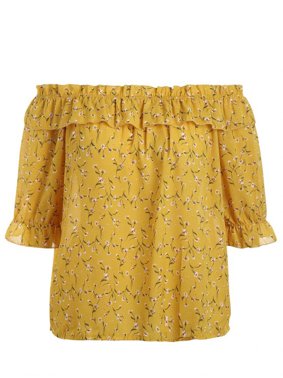 hot Plus Size Tiny Floral Off Shoulder Blouse - YELLOW 2XL