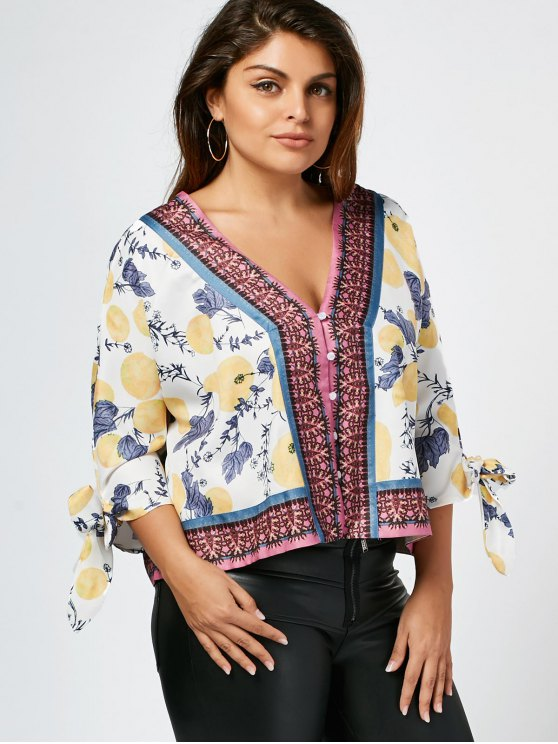 shop Tied Sleeve Fruit Print Plus Size Blouse - WHITE 3XL
