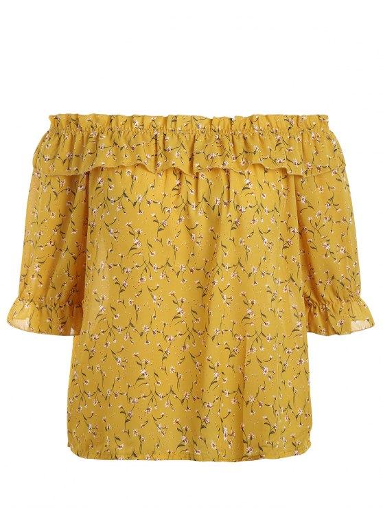 Más tamaño pequeño blusa flor de hombro - Amarillo 4XL