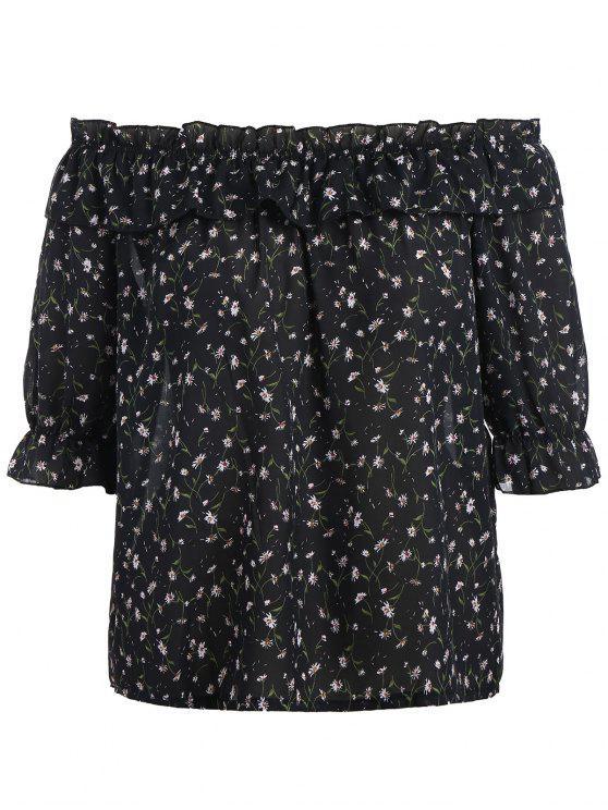 affordable Plus Size Tiny Floral Off Shoulder Blouse - BLACK XL
