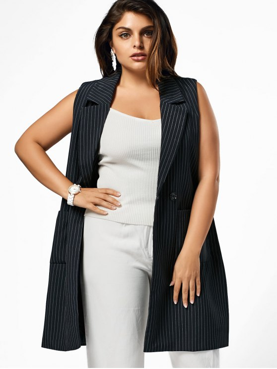 Lapel Plus Size Slit Striped Waistcoat - Negro 2XL