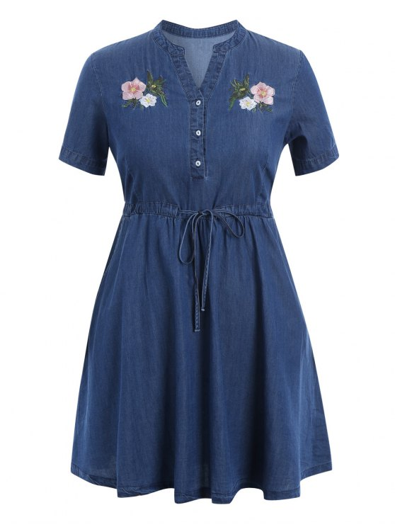 embroidered drawstring plus size denim dress denim blue: plus size