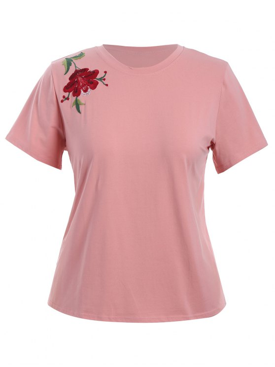 shop Plus Size Floral Embroidered T-Shirt - PINK 2XL