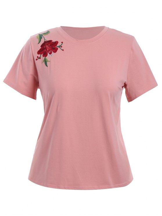 T-shirt brodé floral taille plus - ROSE PÂLE 4XL