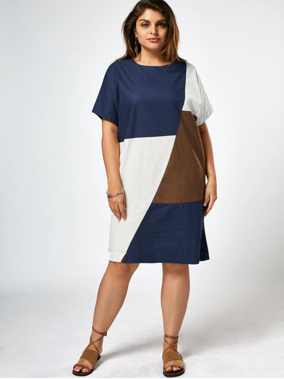 unique Plus Size Color Block Knee Length Dress - COLORMIX ONE SIZE(FIT SIZE XS TO M)