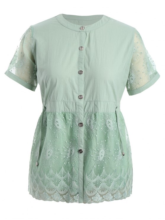 women Plus Size Lace Panel Button Up Blouse - PALE GREEN XL