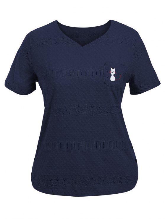ladies Side Buttoned Sheer Plus Size Top - PURPLISH BLUE 4XL