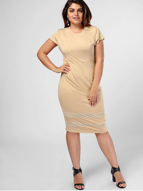 Plus Size Sheer Panel Bodycon Kleid - Khaki 5XL