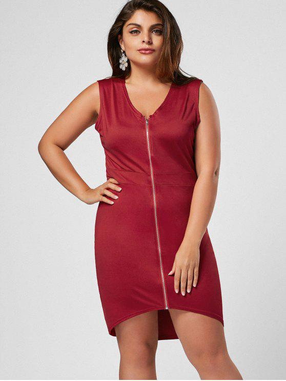 Zip senza maniche Plus Size Bodycon Dress - Vino rosso 3XL