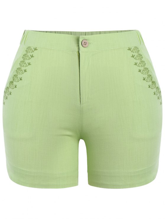 hot Plus Size High Waisted Embroidered Shorts - CELADON XL
