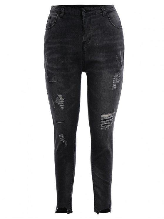 Skinny Plus Destroyed Pencil Jeans - Negro Gris 2XL
