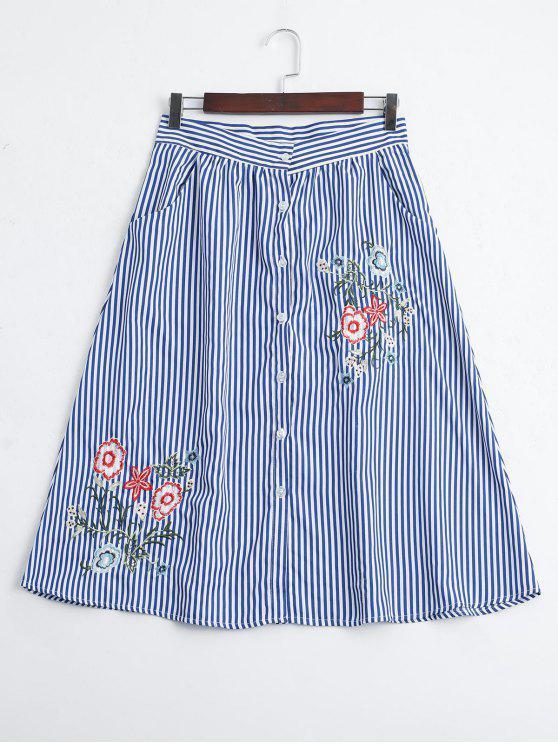Las rayas bordaron el botón encima de una falda de la línea - Raya S