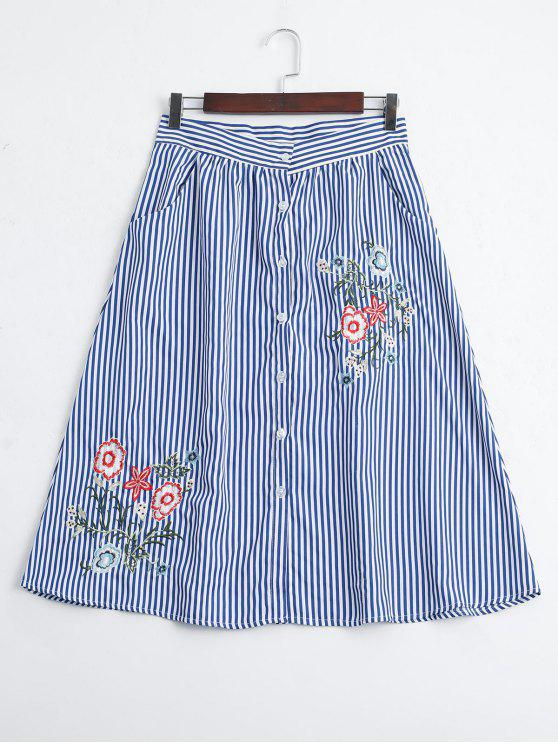 affordable Stripes Embroidered Button Up A Line Skirt - STRIPE M
