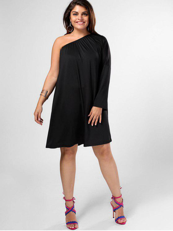 shops One Shoulder Plus Size Swing Dress - BLACK 4XL