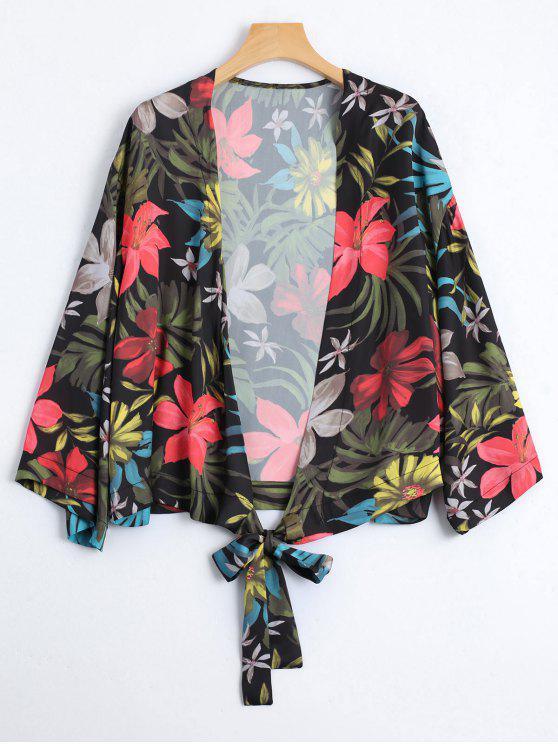 fancy Self Tie Floral Kimono - FLORAL S
