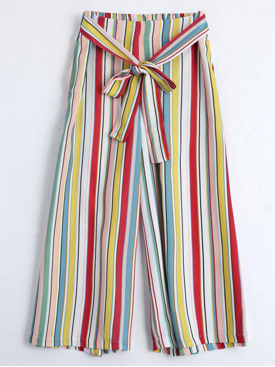 Pantalon Gaucho Large Rayé avec Lien à Nouer - Rayure L
