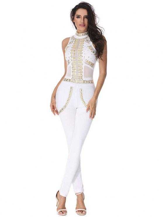 fashion Rivet Embellished Mesh Panel Jumpsuit - WHITE L