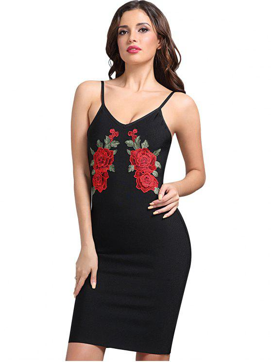 trendy Floral Patched Cami Fitted Dress - BLACK S